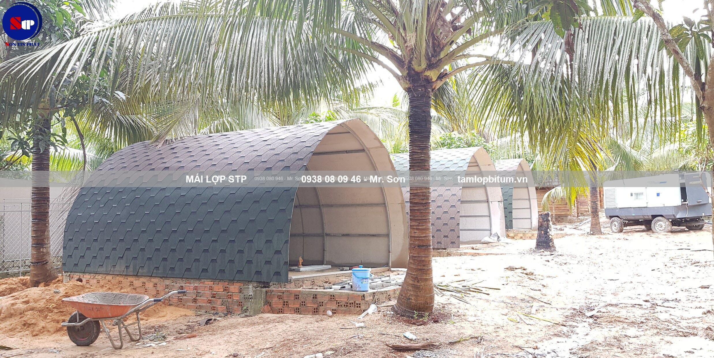 Mái lợp phủ đá STP cho bungalow vòm tròn