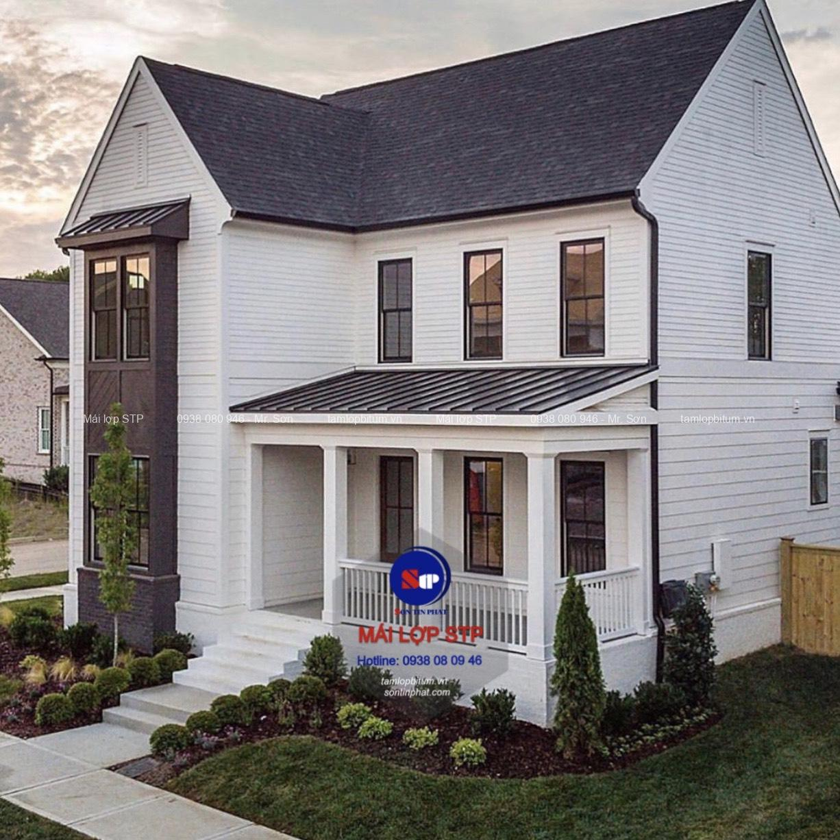 Nhà ở hiện đại sử dụng tấm lợp đá ép