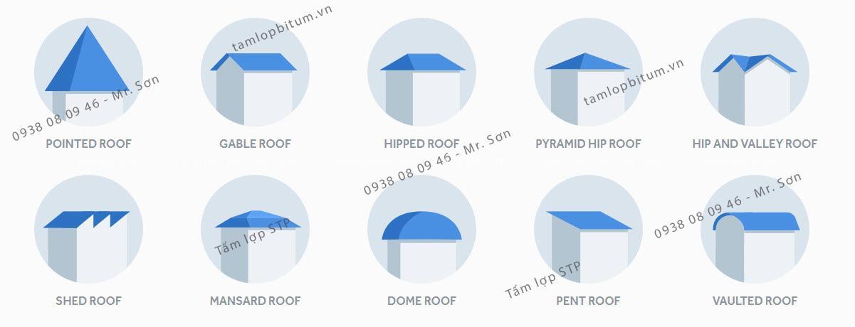 Các dáng mái có thể sử dụng Tấm lợp STP